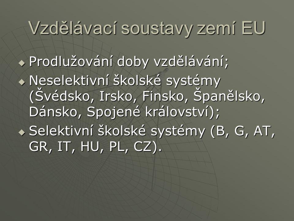 Vzdělávací soustavy zemí EU  Prodlužování doby vzdělávání;  Neselektivní školské systémy (Švédsko, Irsko, Finsko, Španělsko, Dánsko, Spojené království);  Selektivní školské systémy (B, G, AT, GR, IT, HU, PL, CZ).