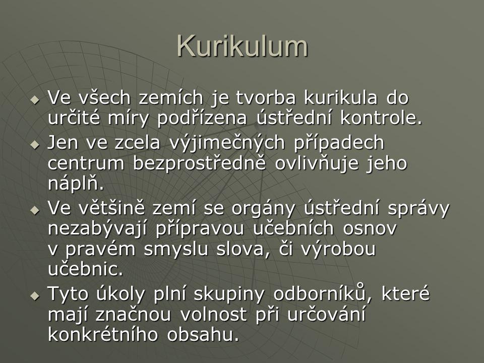 Kurikulum  Ve všech zemích je tvorba kurikula do určité míry podřízena ústřední kontrole.