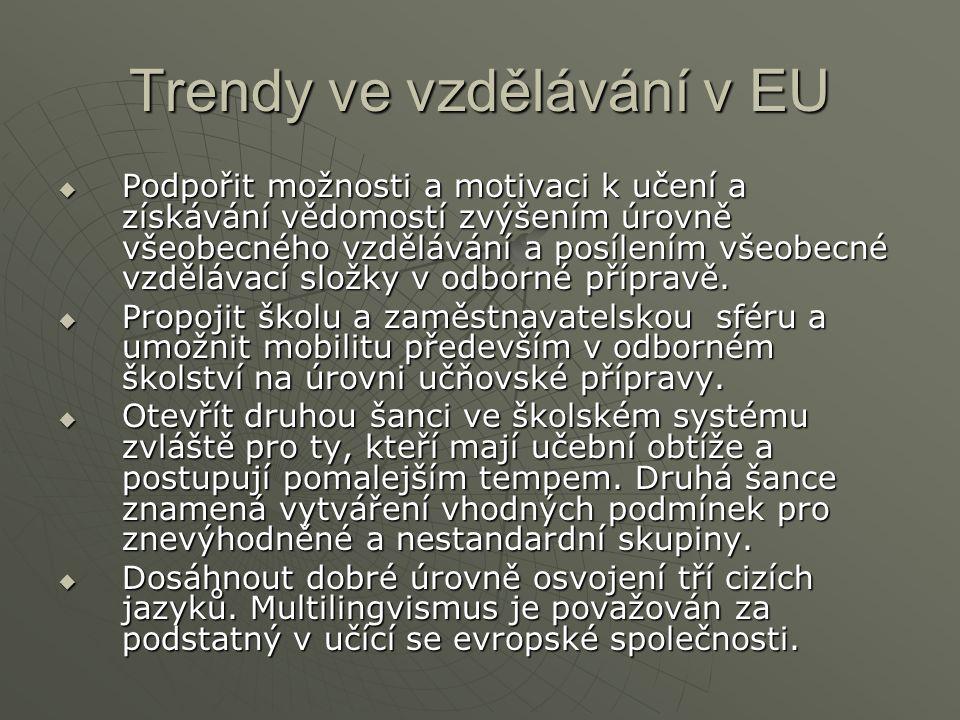 Trendy ve vzdělávání v EU  Podpořit možnosti a motivaci k učení a získávání vědomostí zvýšením úrovně všeobecného vzdělávání a posílením všeobecné vzdělávací složky v odborné přípravě.