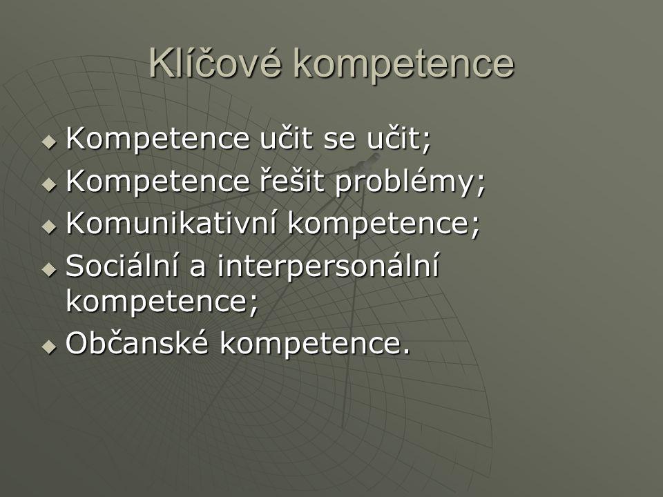 Klíčové kompetence  Kompetence učit se učit;  Kompetence řešit problémy;  Komunikativní kompetence;  Sociální a interpersonální kompetence;  Občanské kompetence.