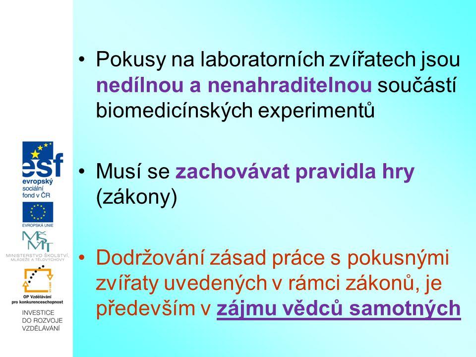 Pokusy na laboratorních zvířatech jsou nedílnou a nenahraditelnou součástí biomedicínských experimentů Musí se zachovávat pravidla hry (zákony) Dodržo