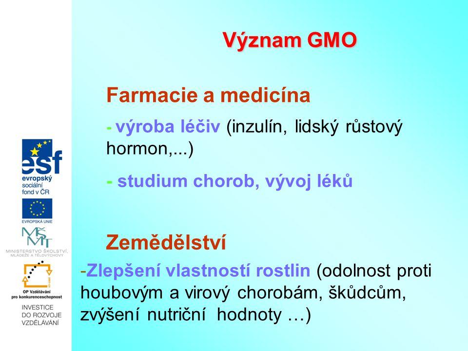 Význam GMO - výroba léčiv (inzulín, lidský růstový hormon,...) - studium chorob, vývoj léků -Zlepšení vlastností rostlin (odolnost proti houbovým a vi