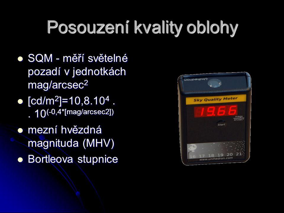 Posouzení kvality oblohy SQM - měří světelné pozadí v jednotkách mag/arcsec 2 SQM - měří světelné pozadí v jednotkách mag/arcsec 2 [cd/m 2 ]=10,8.10 4