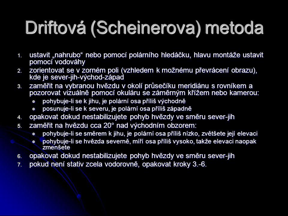 """Driftová (Scheinerova) metoda 1. ustavit """"nahrubo"""" nebo pomocí polárního hledáčku, hlavu montáže ustavit pomocí vodováhy 2. zorientovat se v zorném po"""