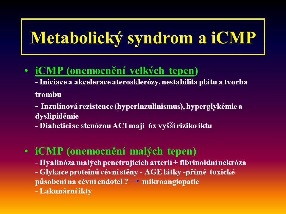 Metabolický syndrom a iCMP iCMP (onemocnění velkých tepen) - Iniciace a akcelerace aterosklerózy, nestabilita plátu a tvorba trombu - Inzulínová rezistence (hyperinzulinismus), hyperglykémie a dyslipidémie - Diabetici se stenózou ACI mají 6x vyšší riziko iktu iCMP (onemocnění malých tepen) - Hyalinóza malých penetrujících arterií + fibrinoidní nekróza - Glykace proteinů cévní stěny - AGE látky -přímé toxické působení na cévní endotel .