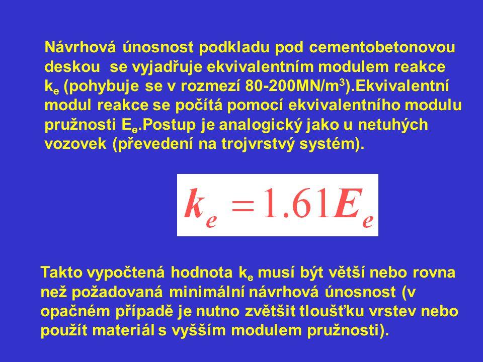 Návrhová únosnost podkladu pod cementobetonovou deskou se vyjadřuje ekvivalentním modulem reakce k e (pohybuje se v rozmezí 80-200MN/m 3 ).Ekvivalentní modul reakce se počítá pomocí ekvivalentního modulu pružnosti E e.Postup je analogický jako u netuhých vozovek (převedení na trojvrstvý systém).