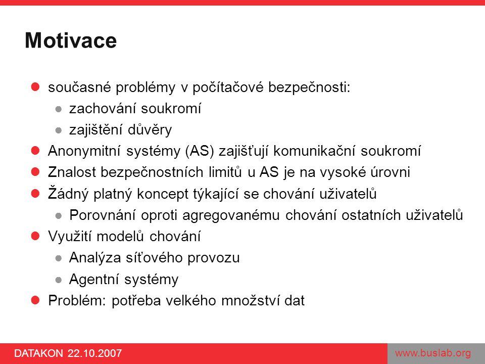 www.buslab.org DATAKON 22.10.2007 Motivace současné problémy v počítačové bezpečnosti: ●zachování soukromí ●zajištění důvěry Anonymitní systémy (AS) z