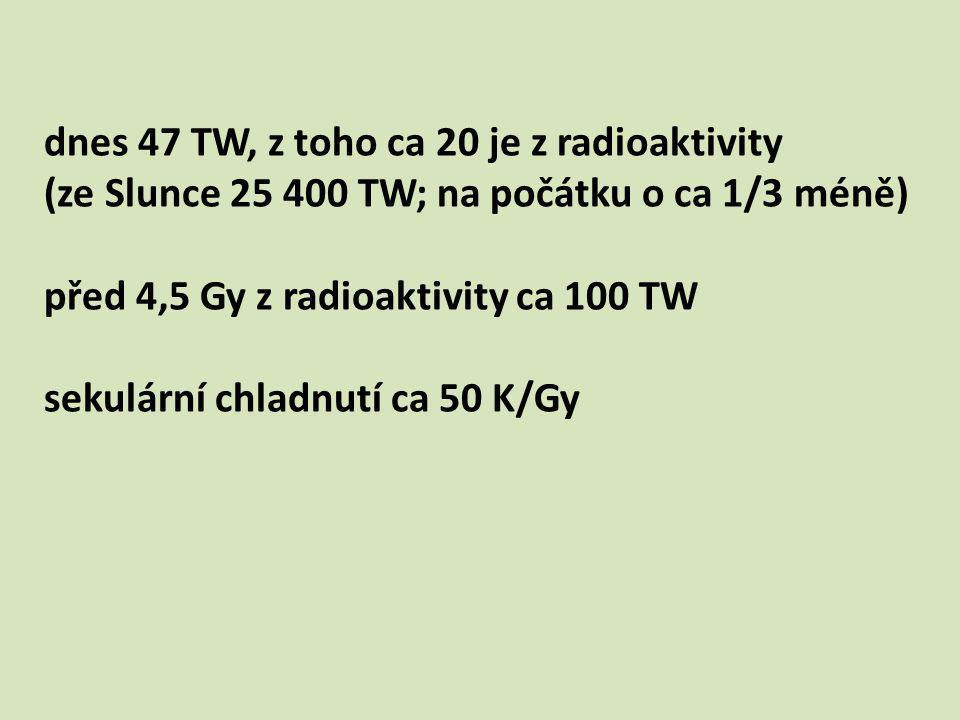 dnes 47 TW, z toho ca 20 je z radioaktivity (ze Slunce 25 400 TW; na počátku o ca 1/3 méně) před 4,5 Gy z radioaktivity ca 100 TW sekulární chladnutí ca 50 K/Gy