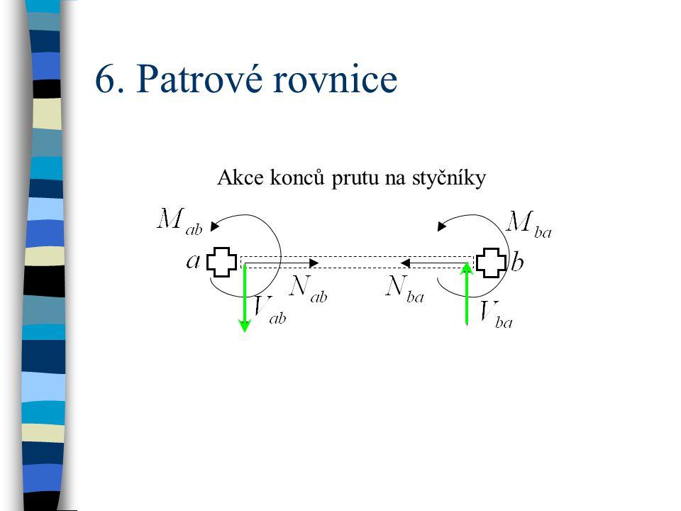 6. Patrové rovnice Akce konců prutu na styčníky