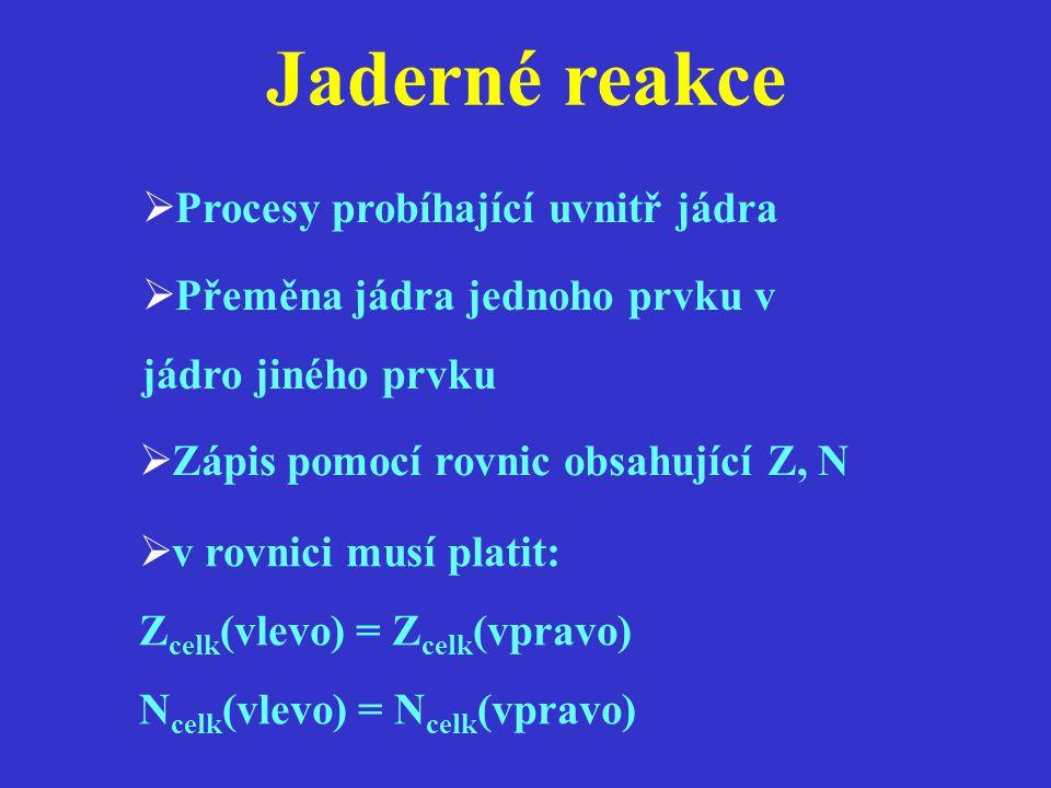 Jaderné reakce  Procesy probíhající uvnitř jádra  Přeměna jádra jednoho prvku v jádro jiného prvku  Zápis pomocí rovnic obsahující Z, N  v rovnici