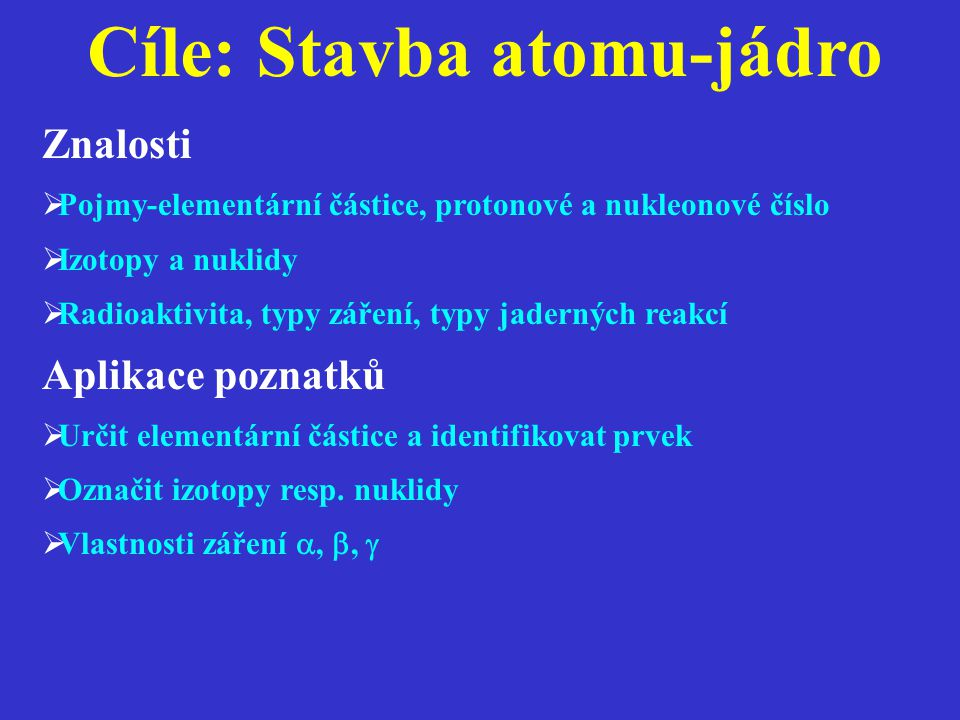 Stavba atomu-jádro  Malé jádro a velký obal (rozdíl 10 4 řádů)  Subatomární částice (protony, neutrony, elektrony)  Nukleony (= protony + neutrony)  Nukleonové číslo (počet protonů a neutronů)  Protonové číslo (počet protonů)  Nuklidy, izotopy