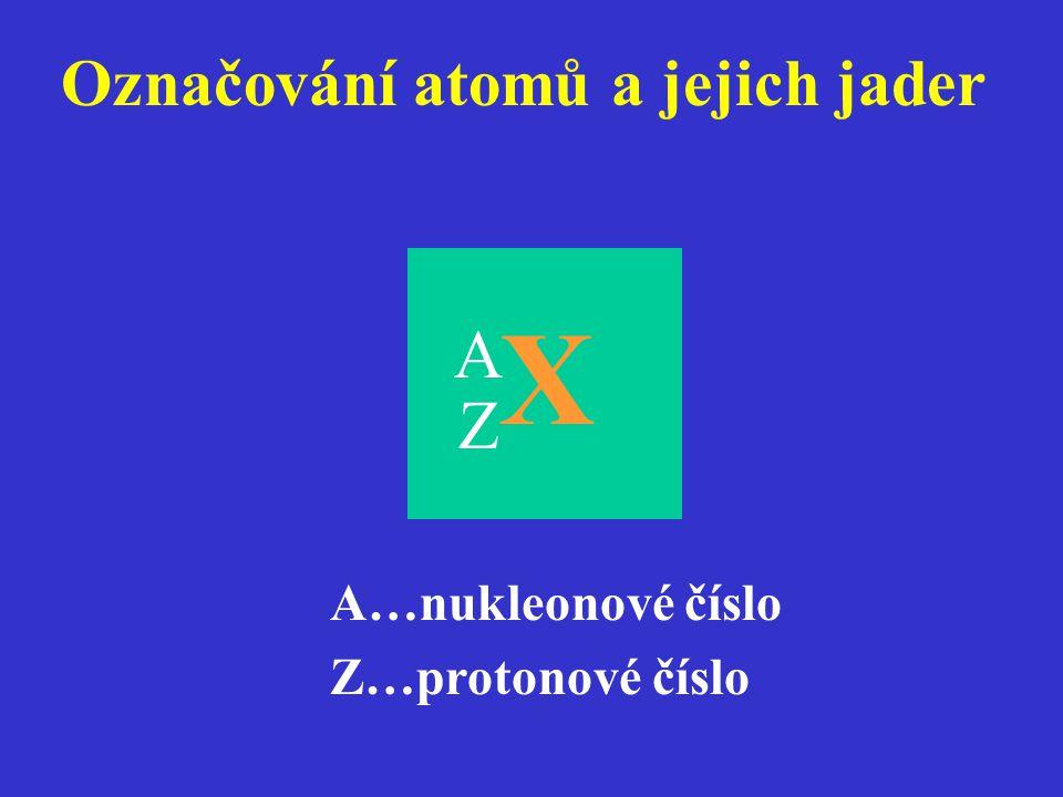 Označování atomů a jejich jader Z X A…nukleonové číslo Z…protonové číslo A