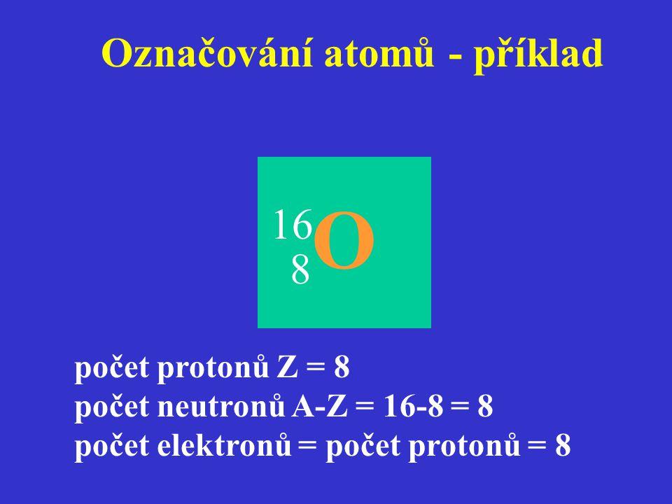 Označování atomů - příklad 8 O počet protonů Z = 8 počet neutronů A-Z = 16-8 = 8 počet elektronů = počet protonů = 8 16