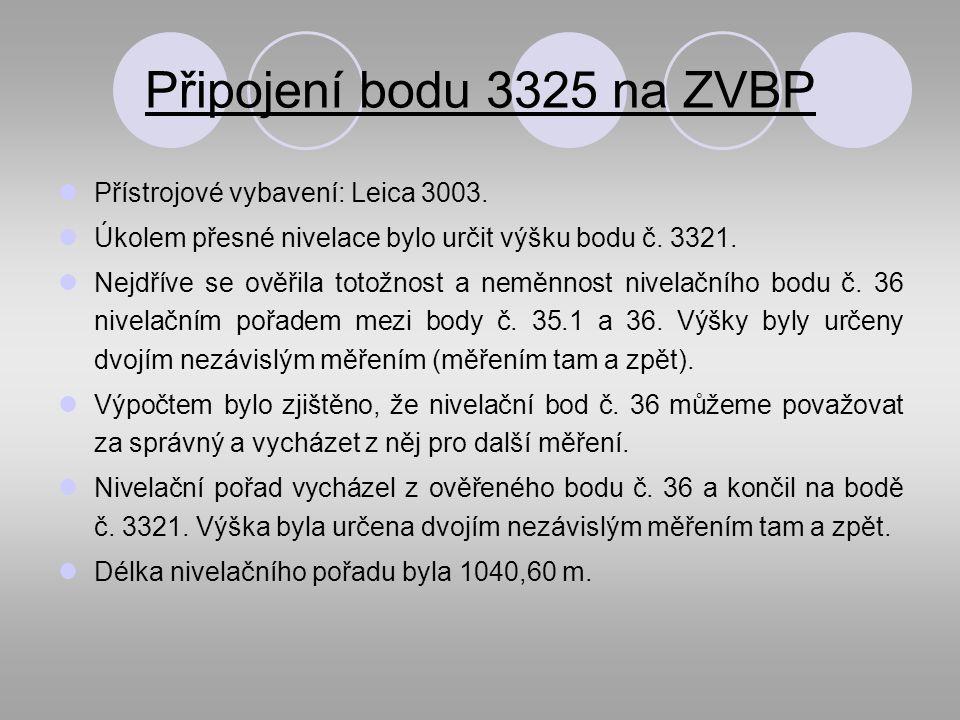 Připojení bodu 3325 na ZVBP Přístrojové vybavení: Leica 3003.