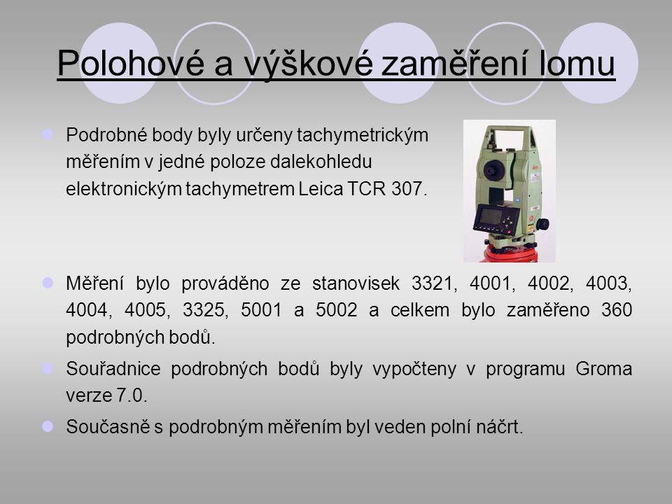 Polohové a výškové zaměření lomu Podrobné body byly určeny tachymetrickým měřením v jedné poloze dalekohledu elektronickým tachymetrem Leica TCR 307.