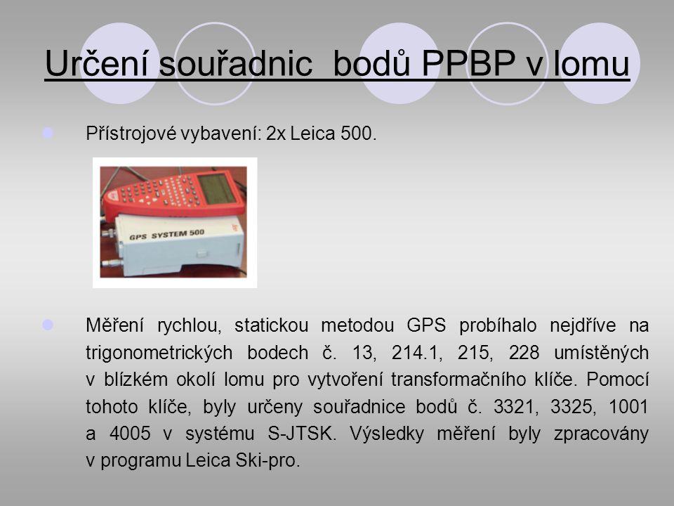Určení souřadnic bodů PPBP v lomu Přístrojové vybavení: 2x Leica 500.