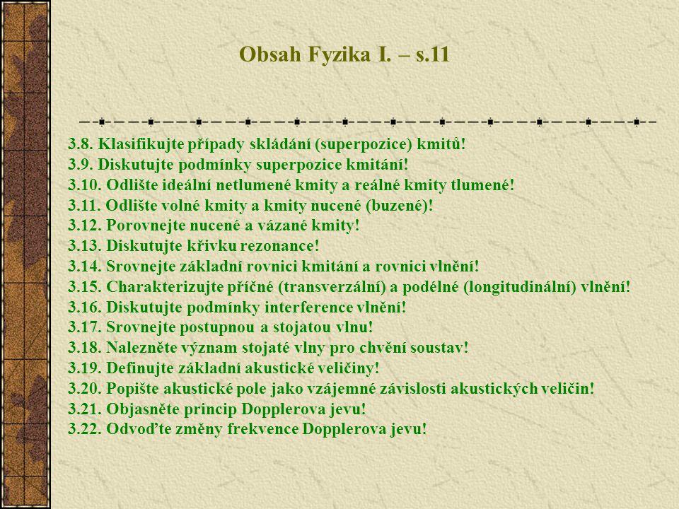 Obsah Fyzika I. – s.11 3.8. Klasifikujte případy skládání (superpozice) kmitů! 3.9. Diskutujte podmínky superpozice kmitání! 3.10. Odlište ideální net