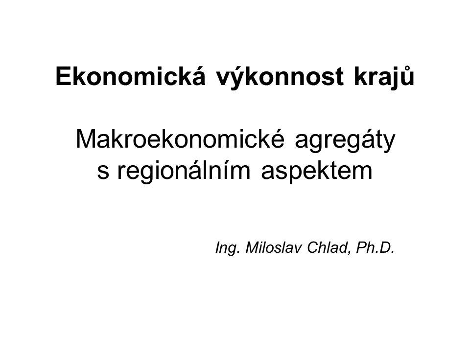 Ekonomická výkonnost krajů Makroekonomické agregáty s regionálním aspektem Ing. Miloslav Chlad, Ph.D.