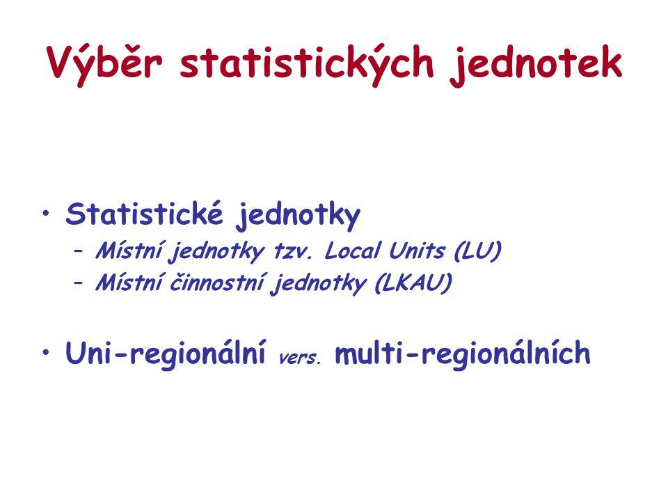 Výběr statistických jednotek Statistické jednotky –Místní jednotky tzv. Local Units (LU) –Místní činnostní jednotky (LKAU) Uni-regionální vers. multi-