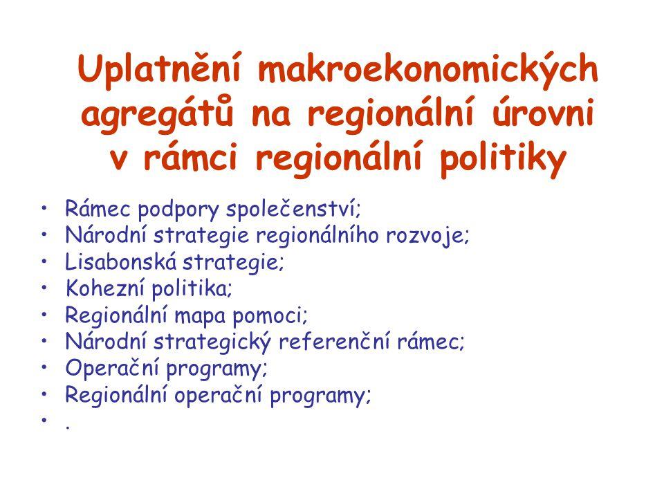 Uplatnění makroekonomických agregátů na regionální úrovni v rámci regionální politiky Rámec podpory společenství; Národní strategie regionálního rozvo