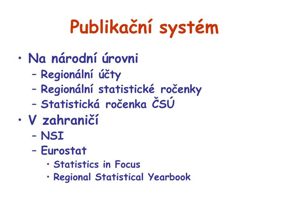 Publikační systém Na národní úrovni –Regionální účty –Regionální statistické ročenky –Statistická ročenka ČSÚ V zahraničí –NSI –Eurostat Statistics in