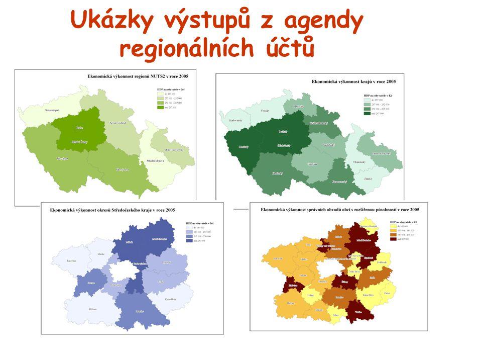 Ukázky výstupů z agendy regionálních účtů