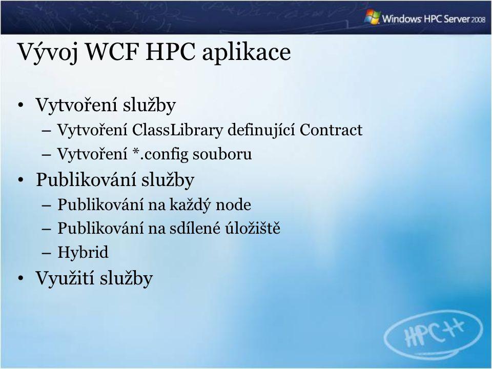 Vývoj WCF HPC aplikace Vytvoření služby – Vytvoření ClassLibrary definující Contract – Vytvoření *.config souboru Publikování služby – Publikování na každý node – Publikování na sdílené úložiště – Hybrid Využití služby