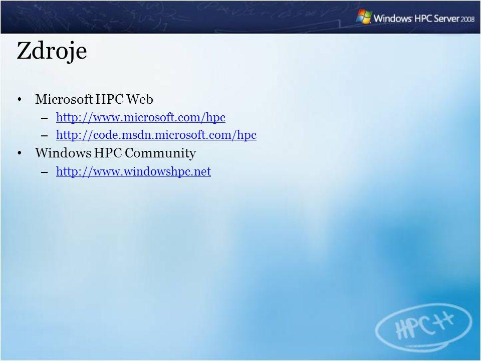 Zdroje Microsoft HPC Web – http://www.microsoft.com/hpc http://www.microsoft.com/hpc – http://code.msdn.microsoft.com/hpc http://code.msdn.microsoft.com/hpc Windows HPC Community – http://www.windowshpc.net http://www.windowshpc.net