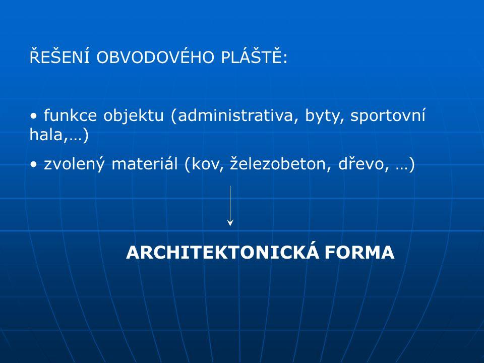 ŘEŠENÍ OBVODOVÉHO PLÁŠTĚ: funkce objektu (administrativa, byty, sportovní hala,…) zvolený materiál (kov, železobeton, dřevo, …) ARCHITEKTONICKÁ FORMA
