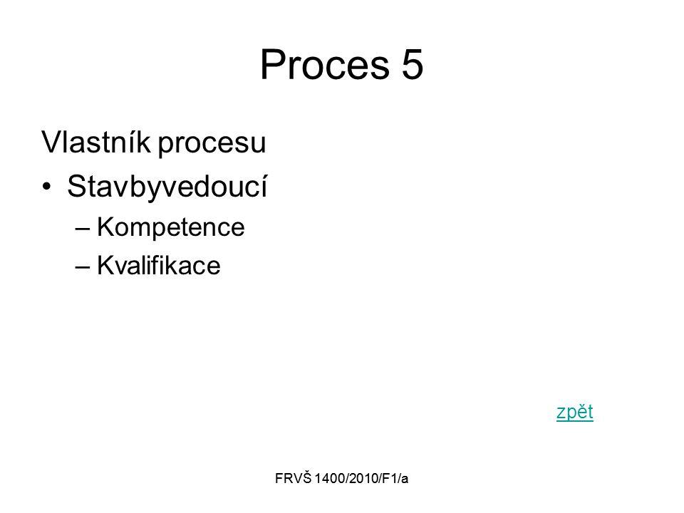 FRVŠ 1400/2010/F1/a Proces 5 Vlastník procesu Stavbyvedoucí –Kompetence –Kvalifikace zpět