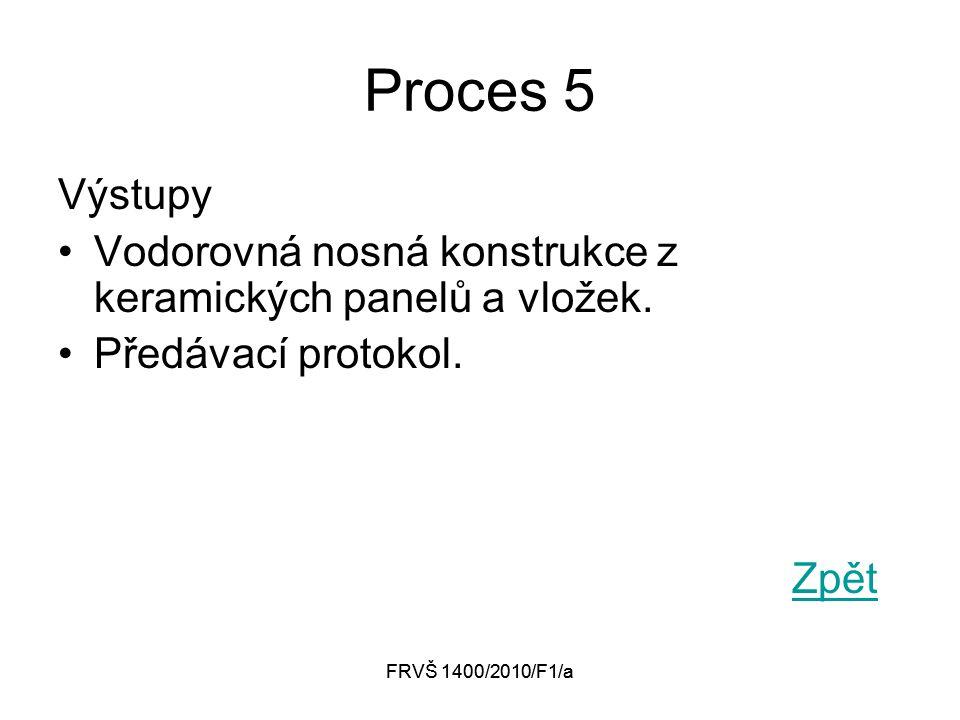 FRVŠ 1400/2010/F1/a Proces 5 Výstupy Vodorovná nosná konstrukce z keramických panelů a vložek. Předávací protokol. Zpět