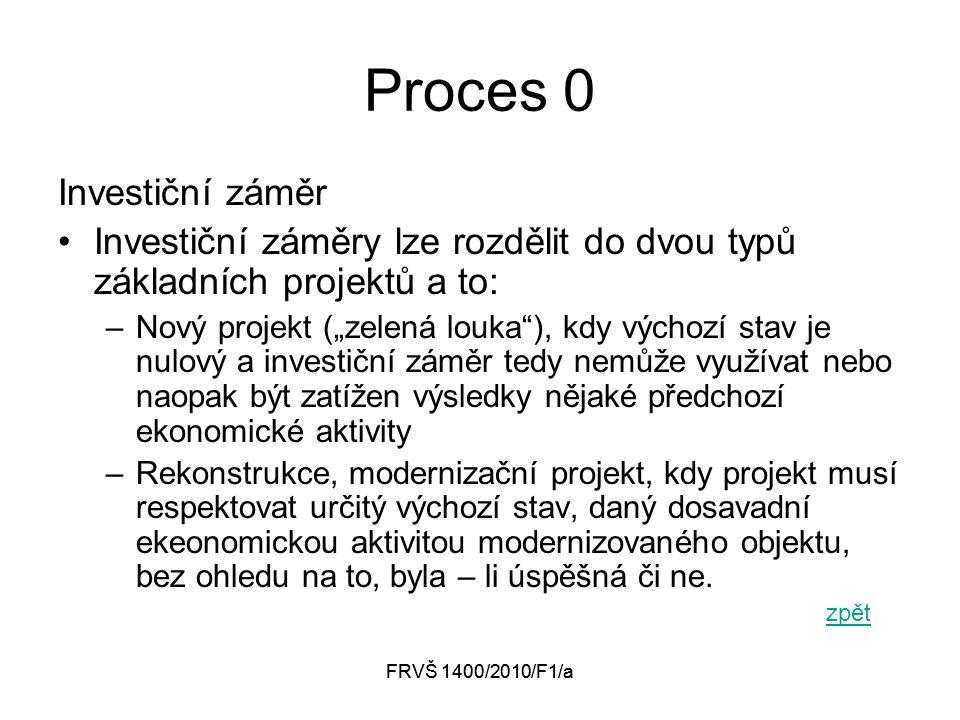 """FRVŠ 1400/2010/F1/a Proces 0 Investiční záměr Investiční záměry lze rozdělit do dvou typů základních projektů a to: –Nový projekt (""""zelená louka ), kdy výchozí stav je nulový a investiční záměr tedy nemůže využívat nebo naopak být zatížen výsledky nějaké předchozí ekonomické aktivity –Rekonstrukce, modernizační projekt, kdy projekt musí respektovat určitý výchozí stav, daný dosavadní ekeonomickou aktivitou modernizovaného objektu, bez ohledu na to, byla – li úspěšná či ne."""