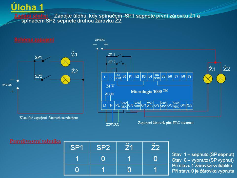 Úloha 1 Zadání úlohy: – Zapojte úlohu, kdy spínačem SP1 sepnete první žárovku Ž1 a spínačem SP2 sepnete druhou žárovku Ž2. Schéma zapojení Ž1 24VDC Kl