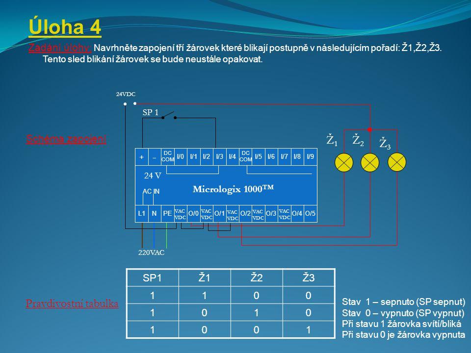 Úloha 4 Zadání úlohy : Navrhněte zapojení tří žárovek které blikají postupně v následujícím pořadí: Ž1,Ž2,Ž3. Tento sled blikání žárovek se bude neust