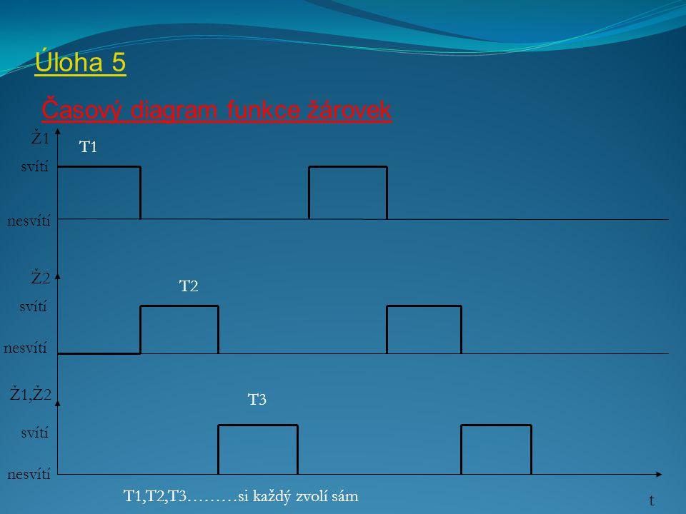 Úloha 5 Časový diagram funkce žárovek Ž1 Ž2 nesvítí t svítí nesvítí Ž1,Ž2 T1 T2 T3 T1,T2,T3………si každý zvolí sám