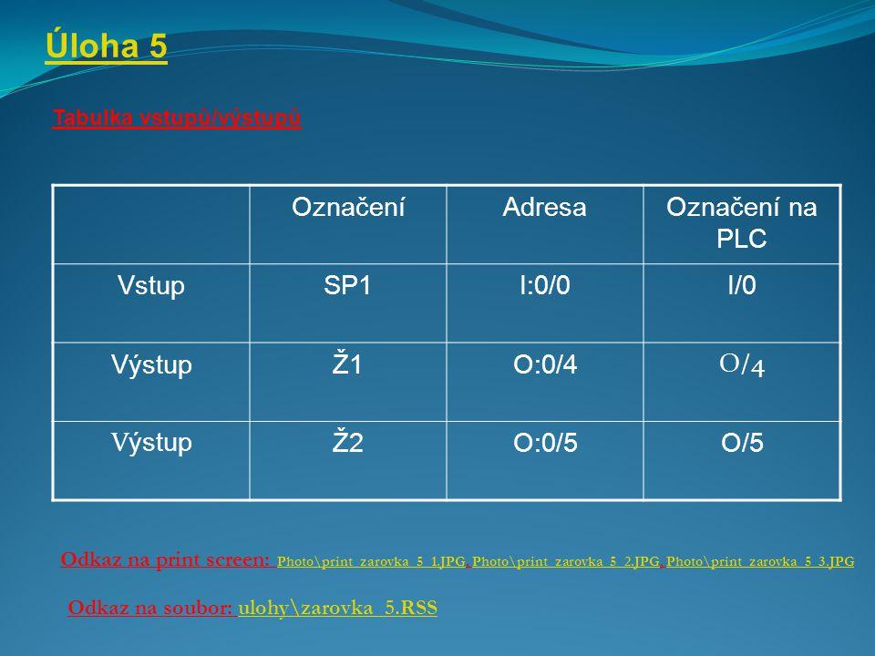 Úloha 5 Tabulka vstupů/výstupů Odkaz na print screen: Photo\print_zarovka_5_1.JPG, Photo\print_zarovka_5_2.JPG, Photo\print_zarovka_5_3.JPG Photo\prin