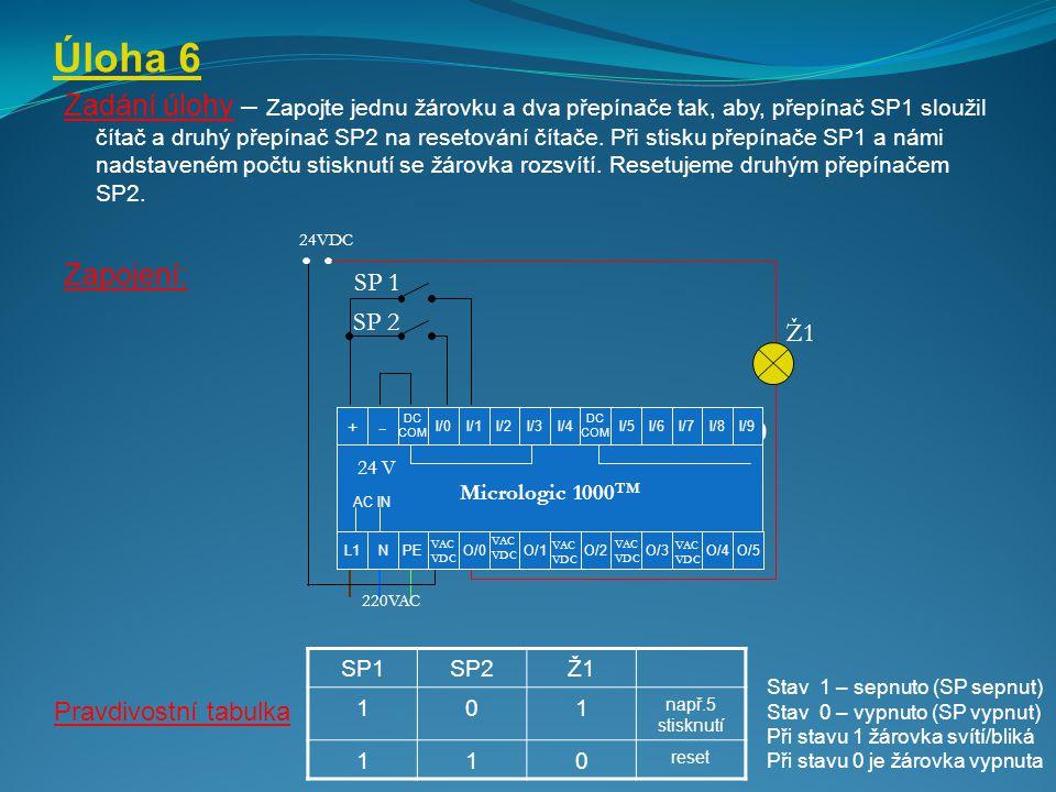 Úloha 6 Zadání úlohy – Zapojte jednu žárovku a dva přepínače tak, aby, přepínač SP1 sloužil čítač a druhý přepínač SP2 na resetování čítače. Při stisk