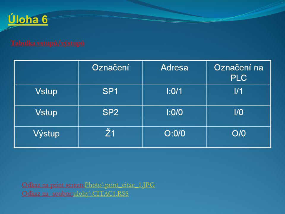 Úloha 6 Tabulka vstupů/výstupů Odkaz na print screen:Photo\print_citac_1.JPGPhoto\print_citac_1.JPG Odkaz na soubor:ulohy\CITAC1.RSSulohy\CITAC1.RSS O