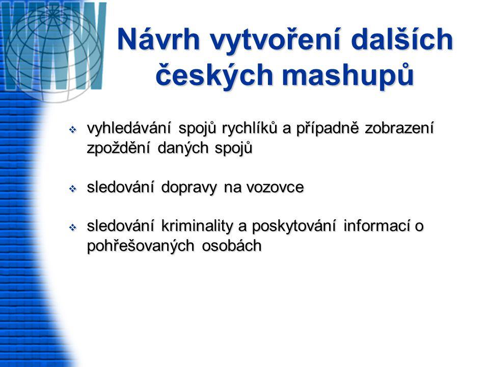 Návrh vytvoření dalších českých mashupů  vyhledávání spojů rychlíků a případně zobrazení zpoždění daných spojů  sledování dopravy na vozovce  sledování kriminality a poskytování informací o pohřešovaných osobách