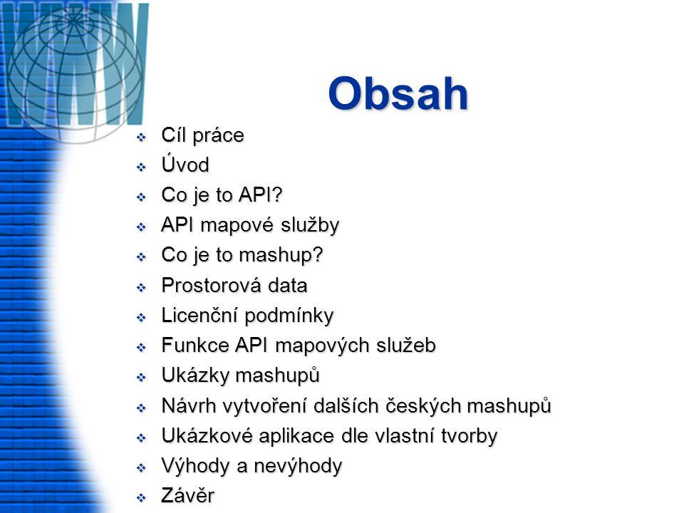 Obsah  Cíl práce  Úvod  Co je to API.  API mapové služby  Co je to mashup.