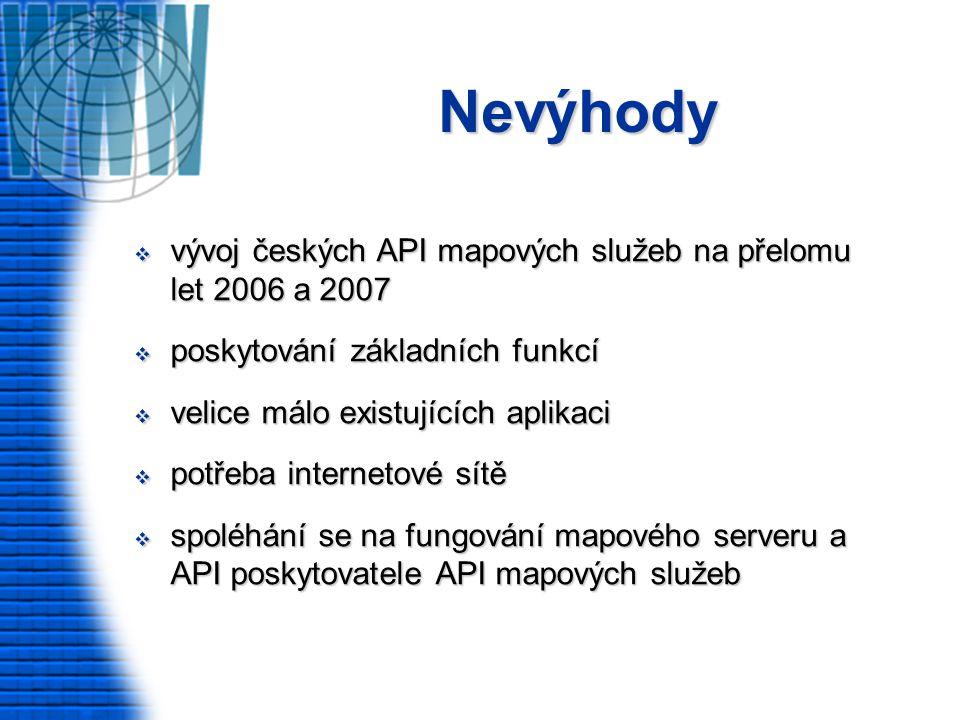 Nevýhody  vývoj českých API mapových služeb na přelomu let 2006 a 2007  poskytování základních funkcí  velice málo existujících aplikaci  potřeba internetové sítě  spoléhání se na fungování mapového serveru a API poskytovatele API mapových služeb