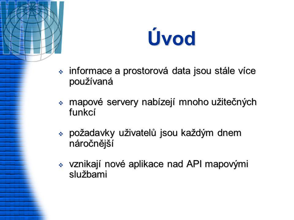 Úvod  informace a prostorová data jsou stále více používaná  mapové servery nabízejí mnoho užitečných funkcí  požadavky uživatelů jsou každým dnem náročnější  vznikají nové aplikace nad API mapovými službami