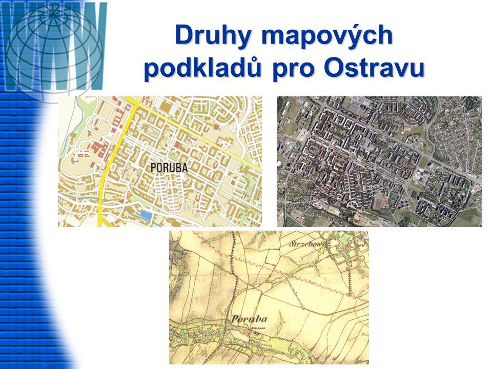 Druhy mapových podkladů pro Ostravu