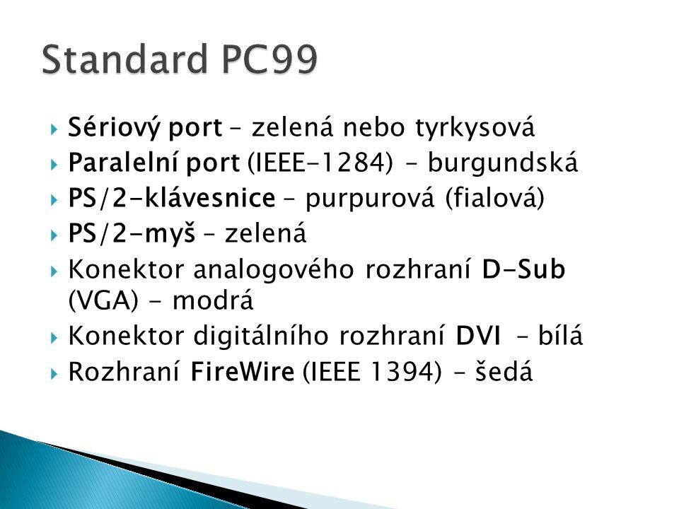  Sériový port – zelená nebo tyrkysová  Paralelní port (IEEE-1284) – burgundská  PS/2-klávesnice – purpurová (fialová)  PS/2-myš – zelená  Konekto