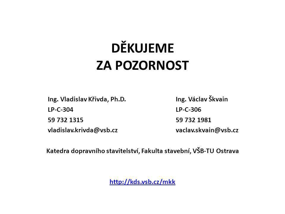 DĚKUJEME ZA POZORNOST Katedra dopravního stavitelství, Fakulta stavební, VŠB-TU Ostrava http://kds.vsb.cz/mkk Ing. Vladislav Křivda, Ph.D. LP-C-304 59