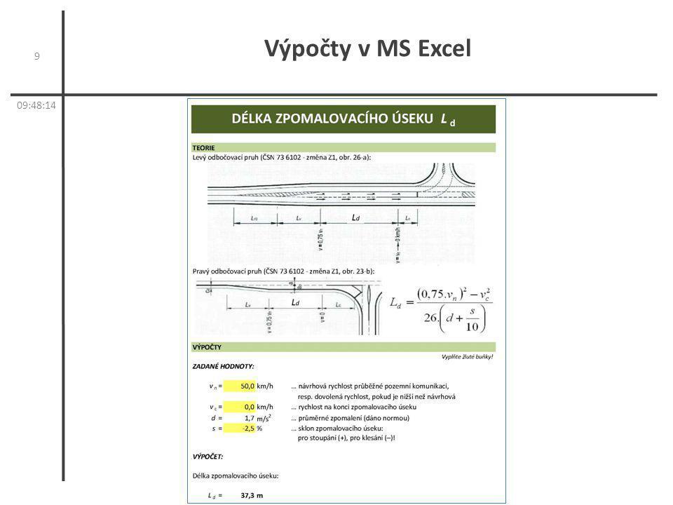 Výpočty v MS Excel 9 09:50:11