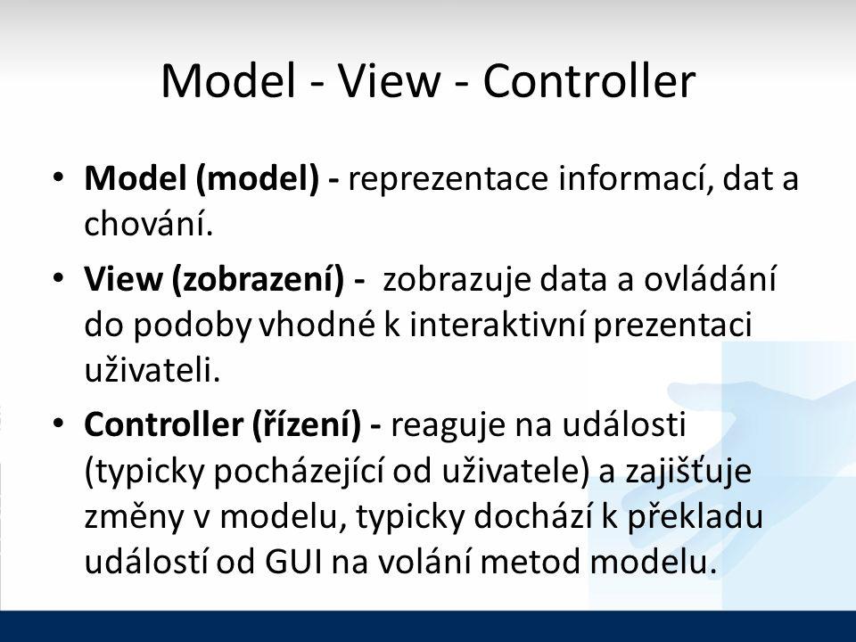 Model - View - Controller Model (model) - reprezentace informací, dat a chování.