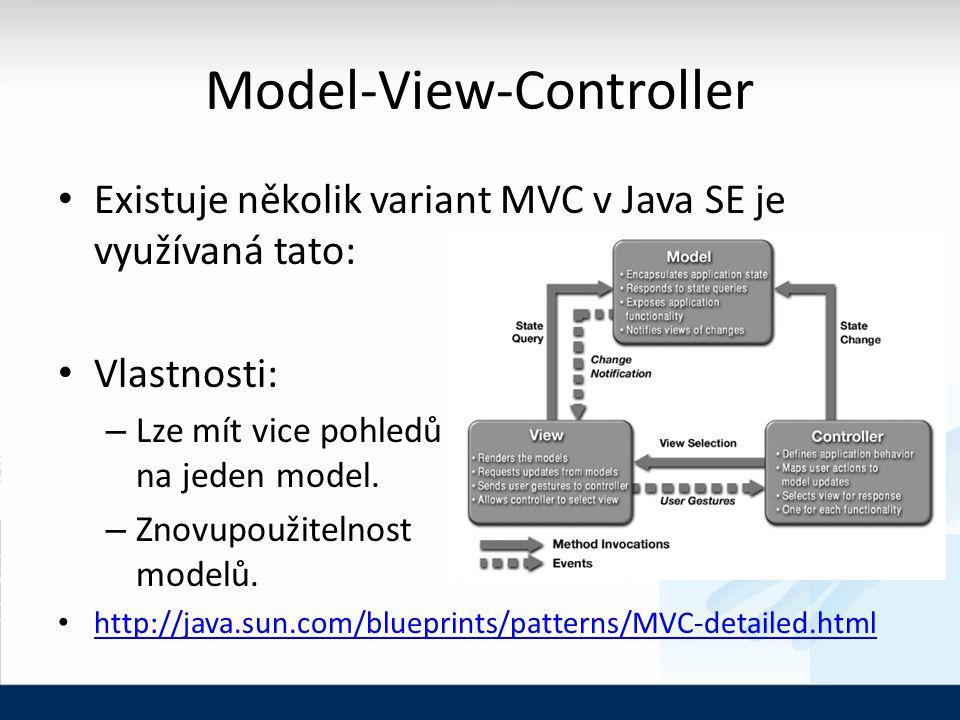 Model-View-Controller Existuje několik variant MVC v Java SE je využívaná tato: Vlastnosti: – Lze mít vice pohledů na jeden model.