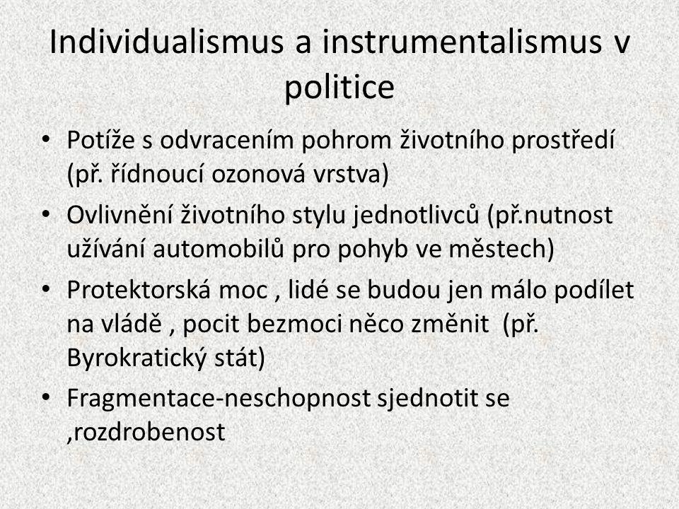 Individualismus a instrumentalismus v politice Potíže s odvracením pohrom životního prostředí (př.