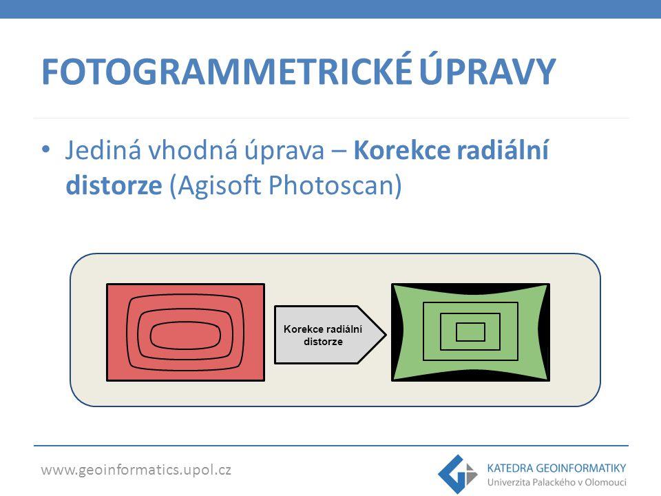 www.geoinformatics.upol.cz FOTOGRAMMETRICKÉ ÚPRAVY Jediná vhodná úprava – Korekce radiální distorze (Agisoft Photoscan) Korekce radiální distorze